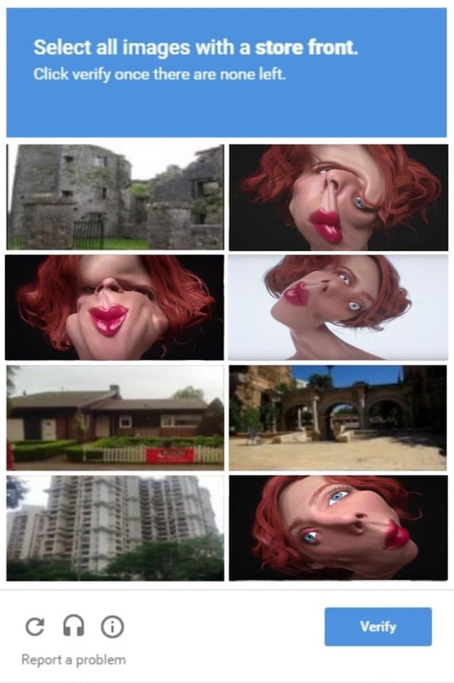 Sophie music video screengrabs as a captcha